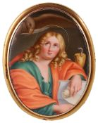 A finely painted porcelain gold framed brooch,