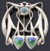 A rare Liberty and Co., Edwardian Art Nouveau silver and enamel buckle