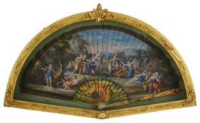 'The Gathering of Manna': An early to mid 18th century painted ivory double sided fan
