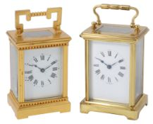 A late 19th c French gilt bronze cased carriage clock by Richard & Cie