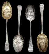 Four George III silver Old English pattern tablespoons