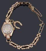 A 9ct gold ladies Uno mechanical bracelet watch