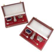 Two modern silver three piece cruet sets