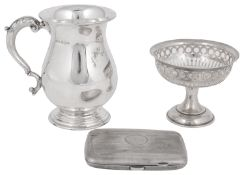 A mixed lot of silver to include a George VI half pint tankard