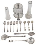 A pair of silver seal top spoons in 17th Century French style, Hanau marks; others