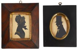 English School, 19th century portrait silhouettes