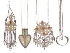 Three assorted silver Turkmen yomud pendants