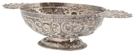 An 18th century Dutch silver twin handled brandy bowl