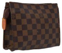 Louis Vuitton makeup/accessories pouch, Damier pattern canvas leather