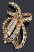 A beautiful Italian gold coloured diamond spray brooch