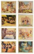 A set of eight British Disney lobby stills for 'Snow White and the Seven Dwarfs'