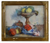 Louis Audibert (French 1881-1983) 'Still life of fruit and flowers', oil on canvas