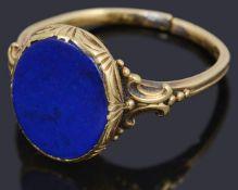 A Continental gold single stone lapis lazuli plaque ring