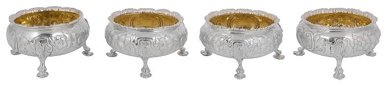 A set of four Victorian silver cauldron salts