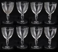 A set of eight early 20th century Val St Lambert crystal wine glasses