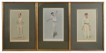 A collection of seven Vanity Fair lithograph caricatures of crickets