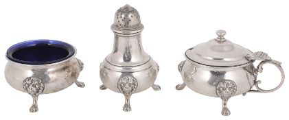 A George VI silver three piece cruet set