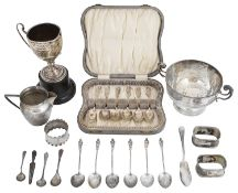 A mixed collection of Victorian and later silver