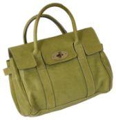 A Mulberry Bayswater green natural oak grain leather handbag,