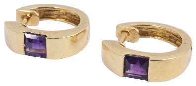 A pair of 18ct gold single stone amethyst hoop earrings