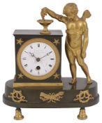 A Regency ormolu and patinated bronze figural mantel timepiece