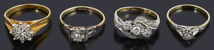 Four assorted gold and diamond set rings