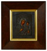 A late 19th century Russian School Icon of the Madonna and child, oil on panel