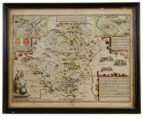John Speede & John Norden, A 17th century double sided Map of Hertfordshire
