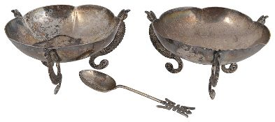 A pair of late 19th early 20th century Chinese Export silver bonbon dishes