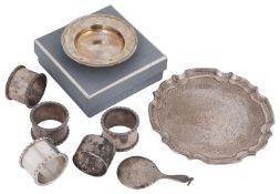 A mixed lot of 20th century silver to include a small armada dish and a small waiter and other items