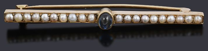 A Victorian gold sapphire and split pearl bar brooch
