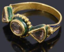 An Indian diamond and enamel Kundan-Meena ring,