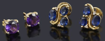 A pair of gold sapphire and diamond cluster stud earrings