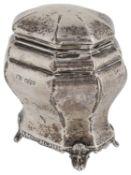 A George V silver tea caddy