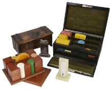 A collection of early 20th century items to include an Art Deco walnut gaming counter caddy