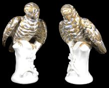 A pair of Portuguese Vista Alegre porcelain figures of parrots
