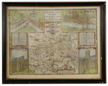 John Speede & John Norden, A 17th century double sided Map of Middlesex