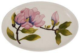 A magnolia pattern Moorcroft oval dish
