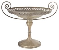 An Edwardian silver twin handled pedestal dish or comport