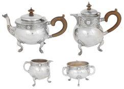 An Irish four piece silver tea service
