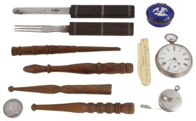 A collection of antique sewing and miscellaneous items