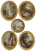 Five late 18th century stipple engravings printed in colour