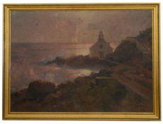 Alexei Vasilievich Hanzen (Russian 1876-1937) 'Church by a rocky coastline'