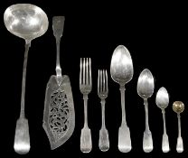 An extensive early Victorian matched silver canteen of fiddle pattern flatware