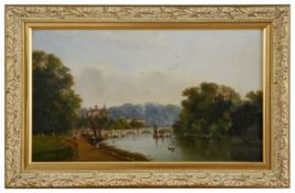 English school 'View of Henley bridge' 19th century unsigned, oil on board, framed