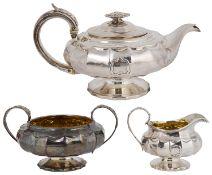 A George IV silver three piece tea service