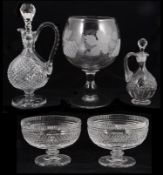 A small selection of glass to include Waterford crystal