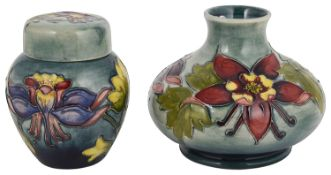 A Walter Moorcroft 'Columbine' squat vase and small ginger