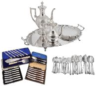 A Victorian silver christening set and a selection of electroplated items