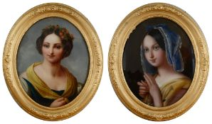 19th century Continental school, bust length portraits of young ladies